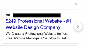 picture of a google ad offering 249 website services
