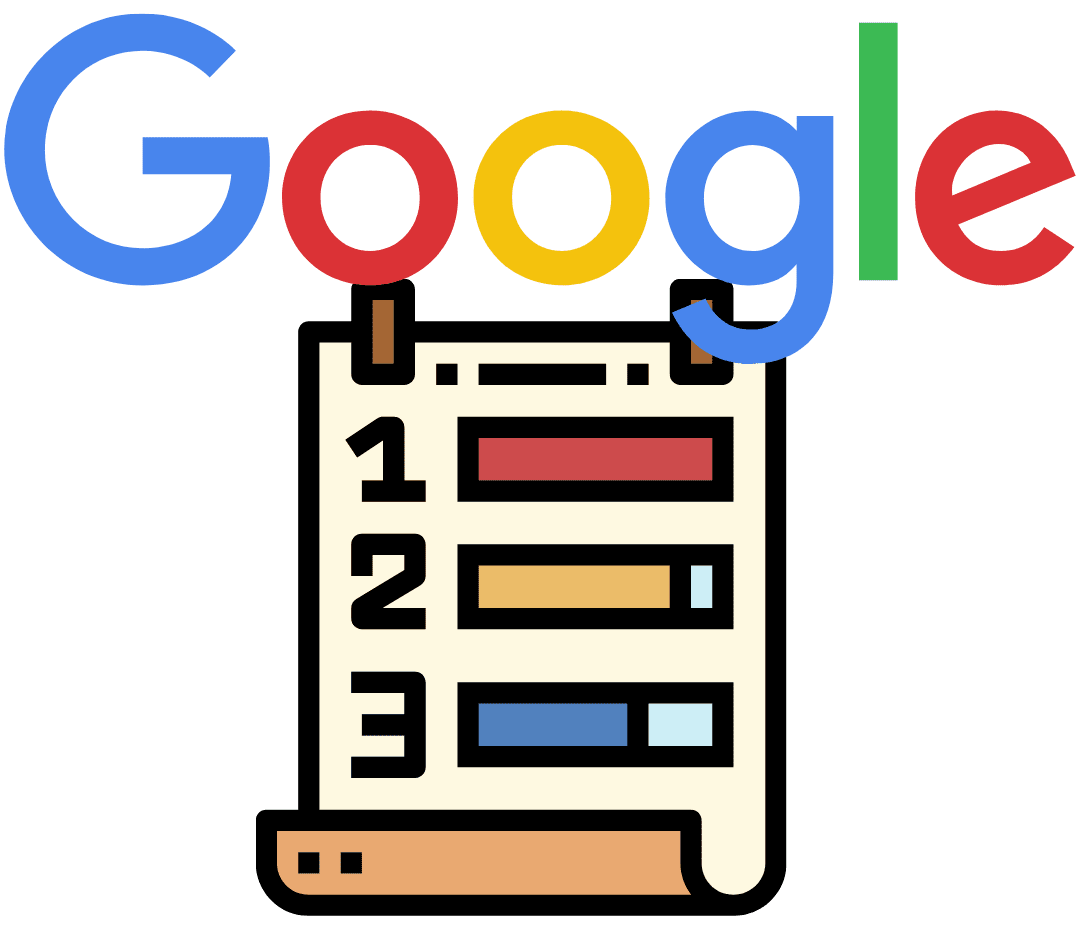 picture of google ranking list