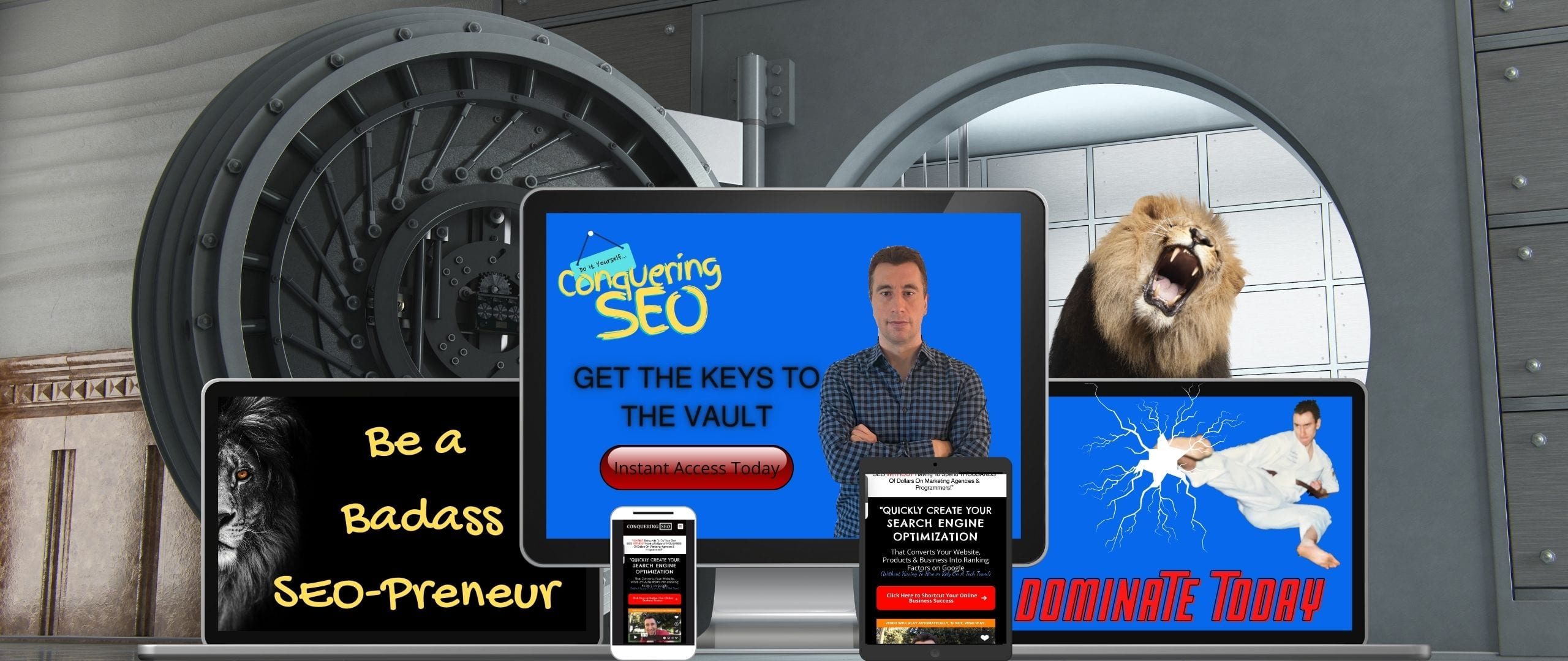 picture of the conquering seo product image of opening the vault
